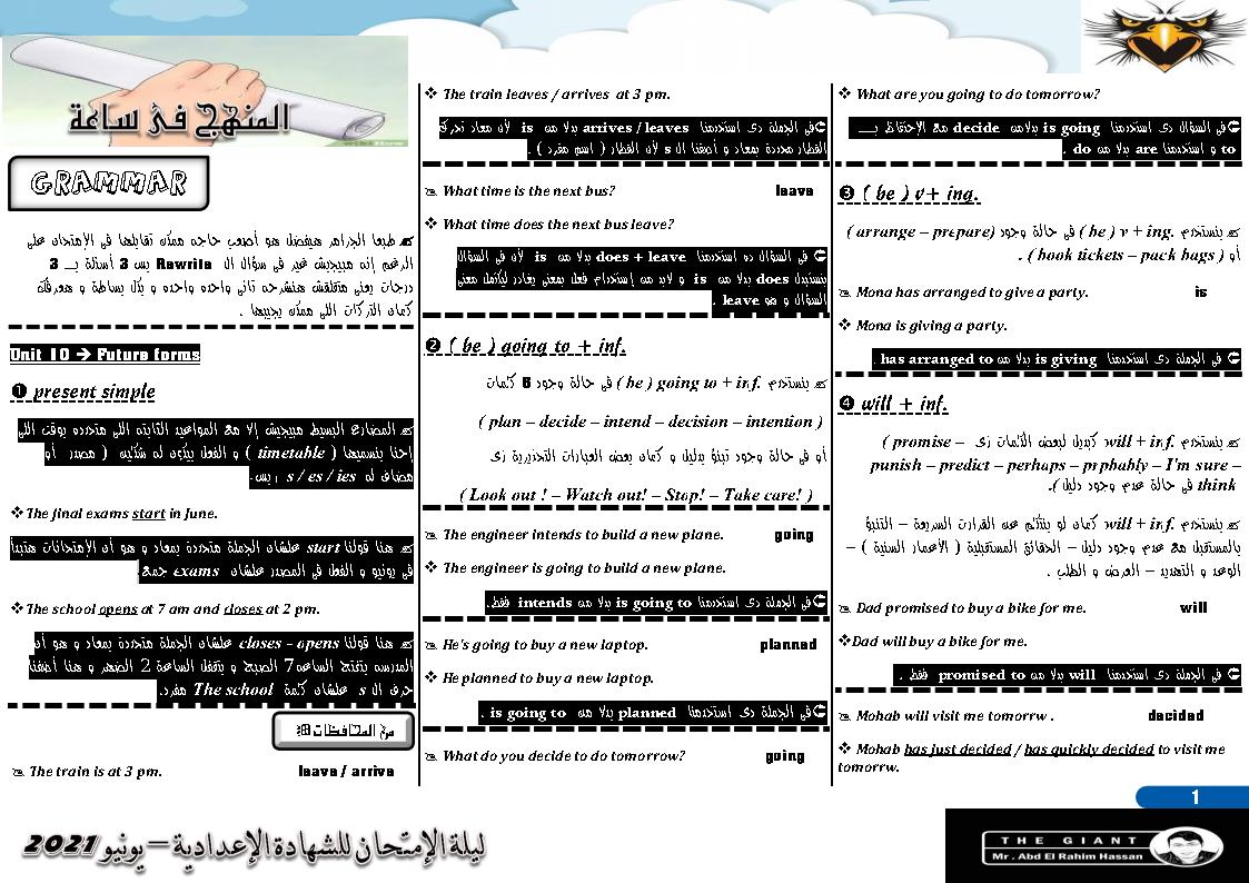 مراجعة ليلة إمتحان اللغة الإنجليزية فى ساعة واحدة (word&pdf) للصف الثالث الاعدادي الترم الثاني 2021 مستر عبد الرحيم حسن