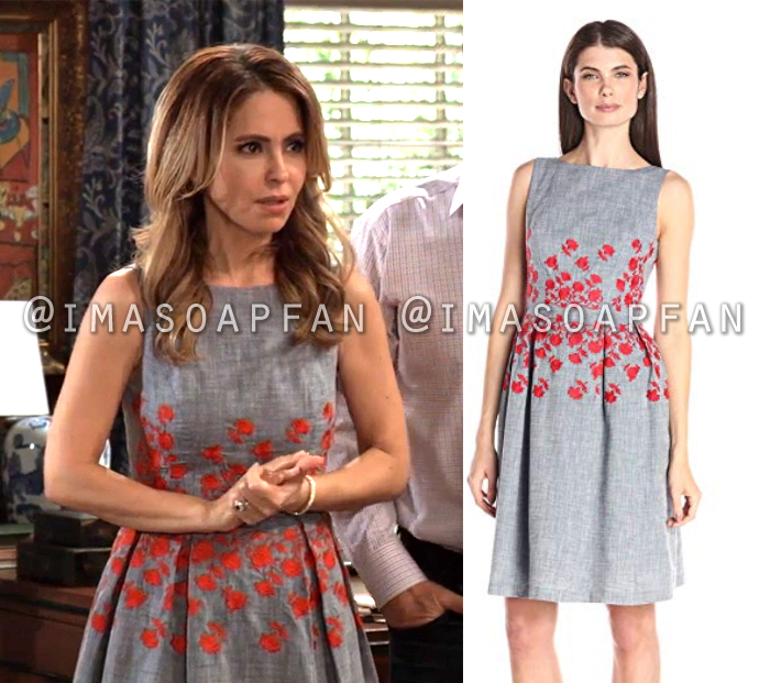 Olivia Quartermaine, Lisa LoCicero, Blue-Grey Chambray Dress with Red Floral Embroidery, General Hospital, GH