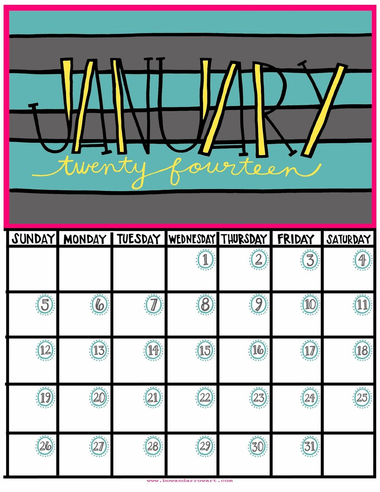 Bow Arrow January Printable Calendar It S Not Too Late