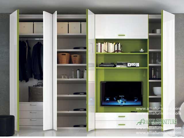 lemari baju minimalis tv model harlem