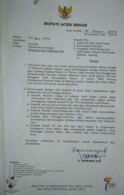Surat larangan perayaan Valentin Day Bupati Aceh Besar 2018
