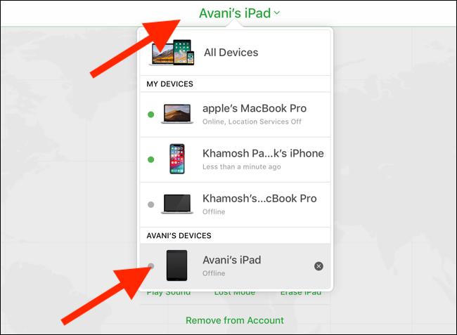 انقر أو اضغط على الأجهزة المنسدلة واختر iPad الخاص بك.