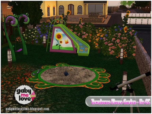 Townhouse Flores Garden |NO CC| ~ Lote Residencial, Sims 3. Parque Infantil.