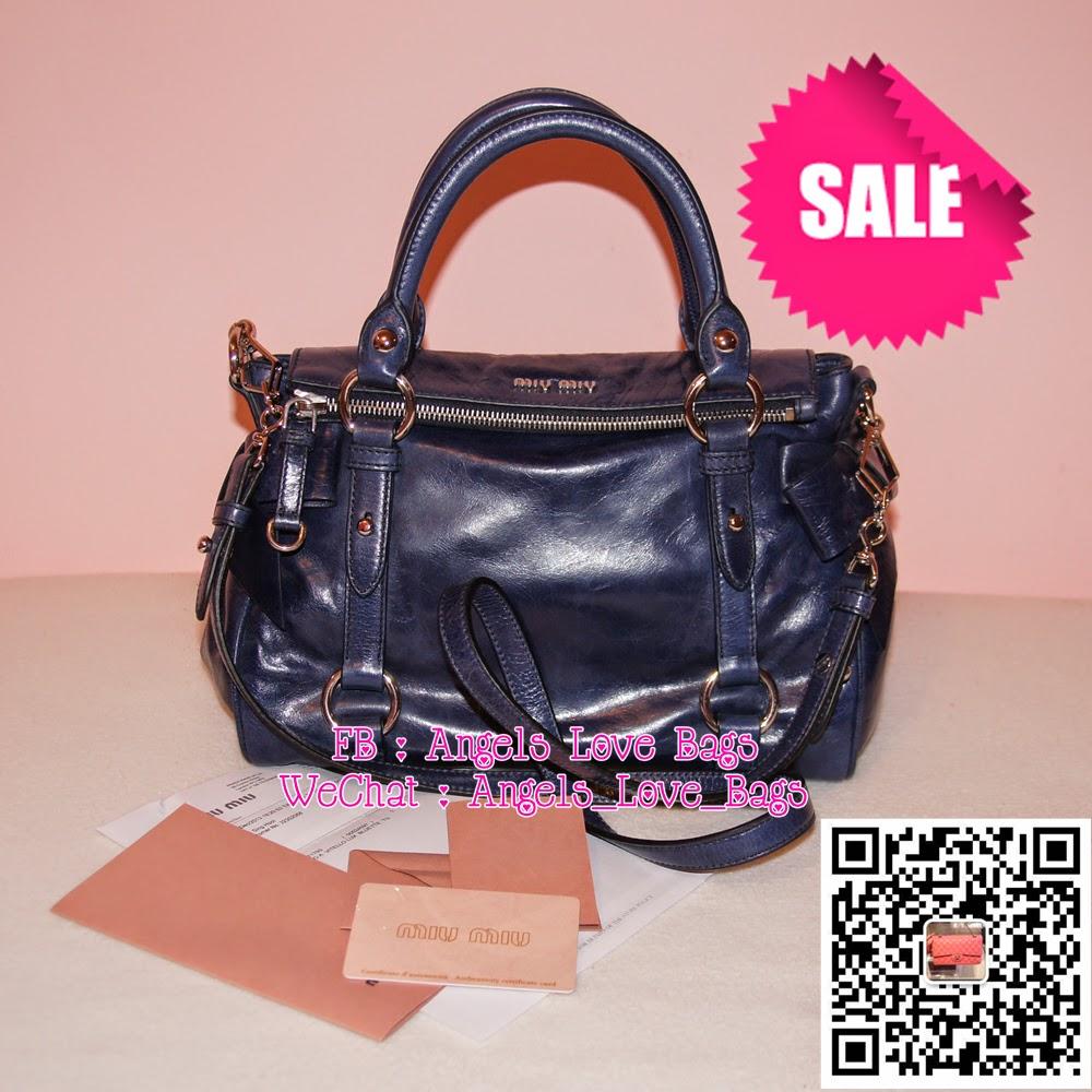 Miu Classic Vitello Lux Small Bow Bag Bluette