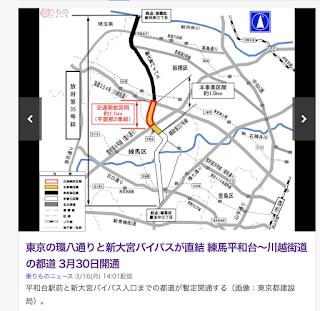 平和台駅前と新大宮バイパス入口までの都道が暫定開通する(画像:東京都建設局)
