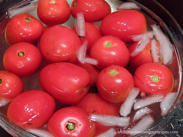 Tomatoes in Ice Water Bath for Peeling Tomatoes from Walking on Sunshine