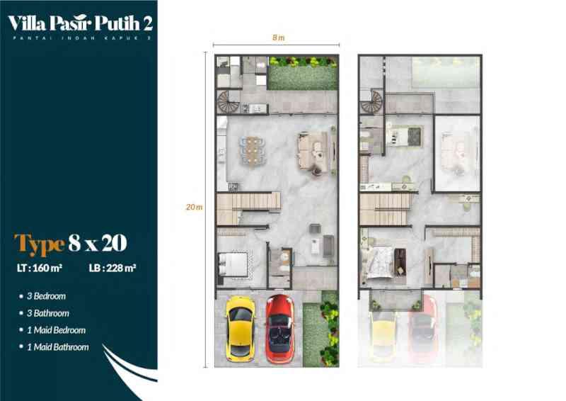 Denah Rumah Villa Pasir Putih 2 Tipe Jati