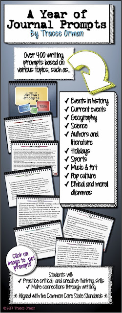 A Year of Journal Prompts by Tracee Orman http://www.teacherspayteachers.com/Product/A-Year-of-Journal-Writing-Prompts-Common-Core-Standards