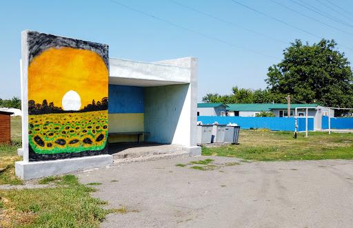 Райполе. Межівський р-н. Автобусна зупинка