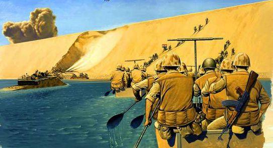 صورة من حرب اكتوبر لحظة العبور