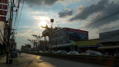 Sunset over Thanon Baanpa Pragarn road, Chiang Rai