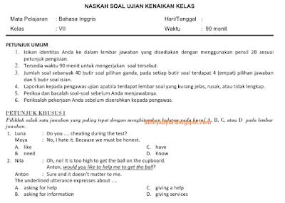 Soal dan Jawaban PAT/UKK SMP Semester 2 Plus Kisi-kisinya