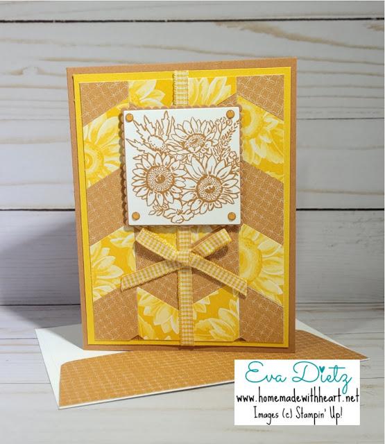 Cinnamon Cider Sunflower chevron quilt Card