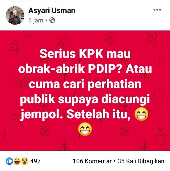 KPK Ciduk Komisioner KPU, Wartawan Senior: Serius KPK Mau Obrak Abrik PDIP?