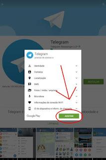 Aceitar e fazer download do Telegram