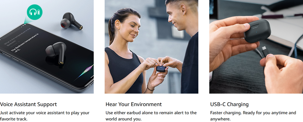 AUKEY True Wireless Earbuds, Bluetooth 5 Headphones with aptX Deep Bass