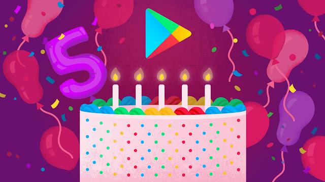 6 مارس هو عيد ميلاد جوجل بلاى الخامس Google Play Birthday