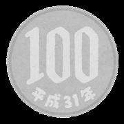 日本の硬貨のイラスト(平成・100円)