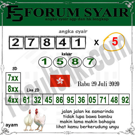 Forum Syair HK Rabu 29 Juli 2020