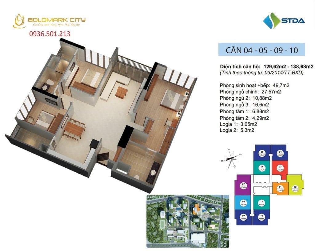 Mặt bằng căn hộ số 04, 05, 09, 10 Ruby 1- Dự án Goldmark City