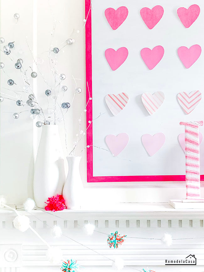 pink ombre heart wall art