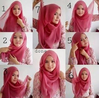 Tutorial cara memakai hijab segi empat wajah bulat