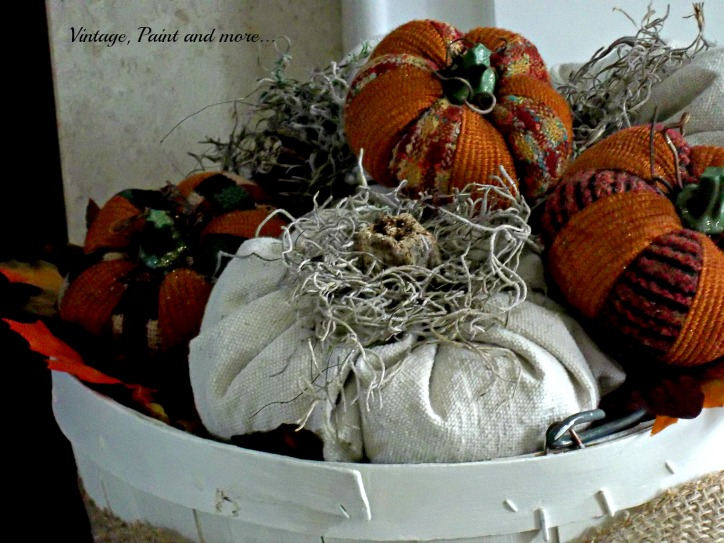 Vintage, Paint and more... drop cloth pumpkins in a vintage bushel basket with burlap ribbon