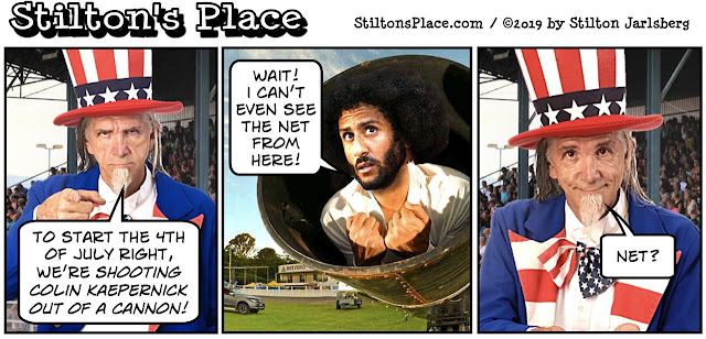 stilton's place, stilton, political, humor, conservative, cartoons, jokes, hope n' change, 4th of july, kaepernick, nike