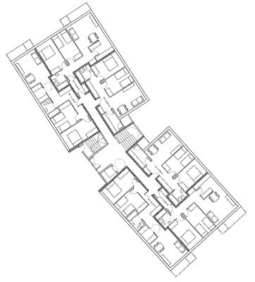 Imatge 1: Planta tipus de l'avantprojecte de 16 habitatges HPO de lloguer. Direcció General d'Habitatge, 2008