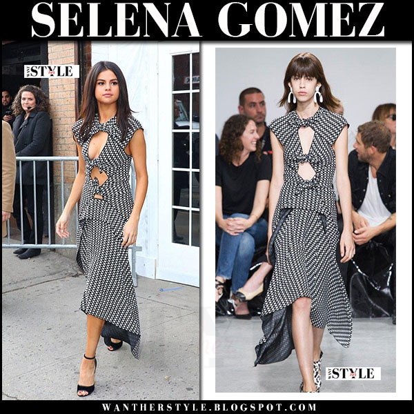 Selena Gomez in black and white cutout midi dress proenza schouler what she wore