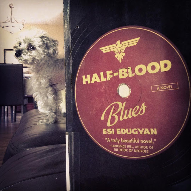 Murchie stands some distance behind an upright trade paperback copy of Half-Blood Blues. Its cover is styled like a vinyl record, with the title and author on a burgundy disc in the centre.