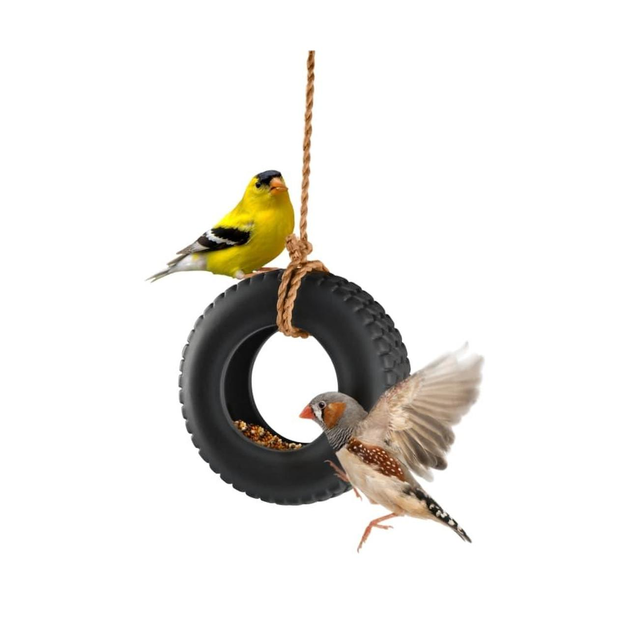 Tire swing bird feeder