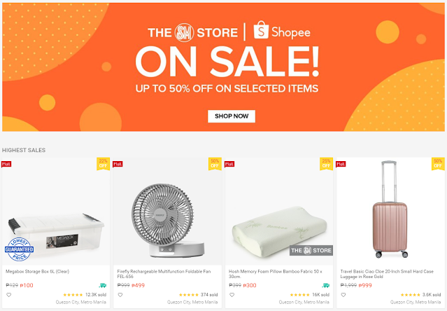 The SM Store Online Sale happening on Shopee