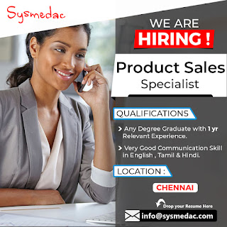 We Are Hiring Product Specialist in Chennai