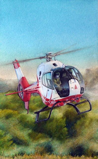 Aquarelle, Hélicoptères, EC-120B, Colibri, EAALAT