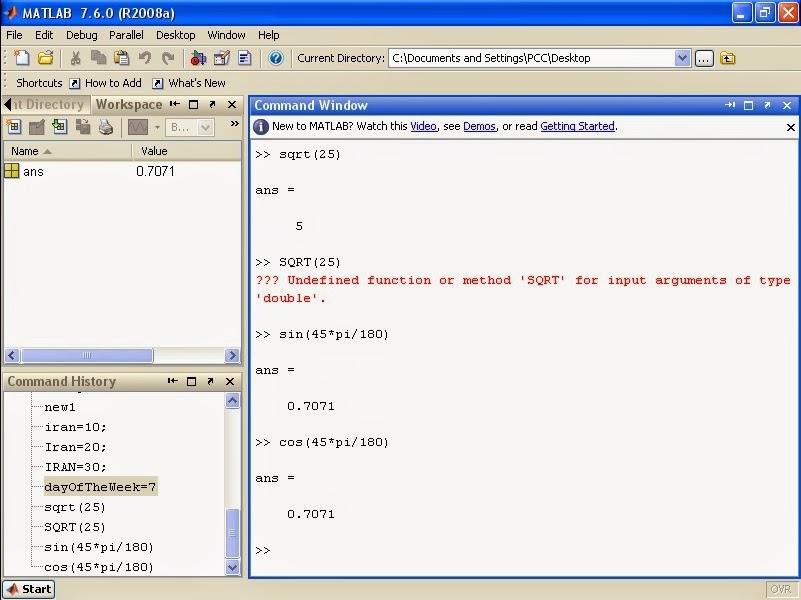 Product Design Engineering: MATLAB Tutorial - MATLAB Matrix