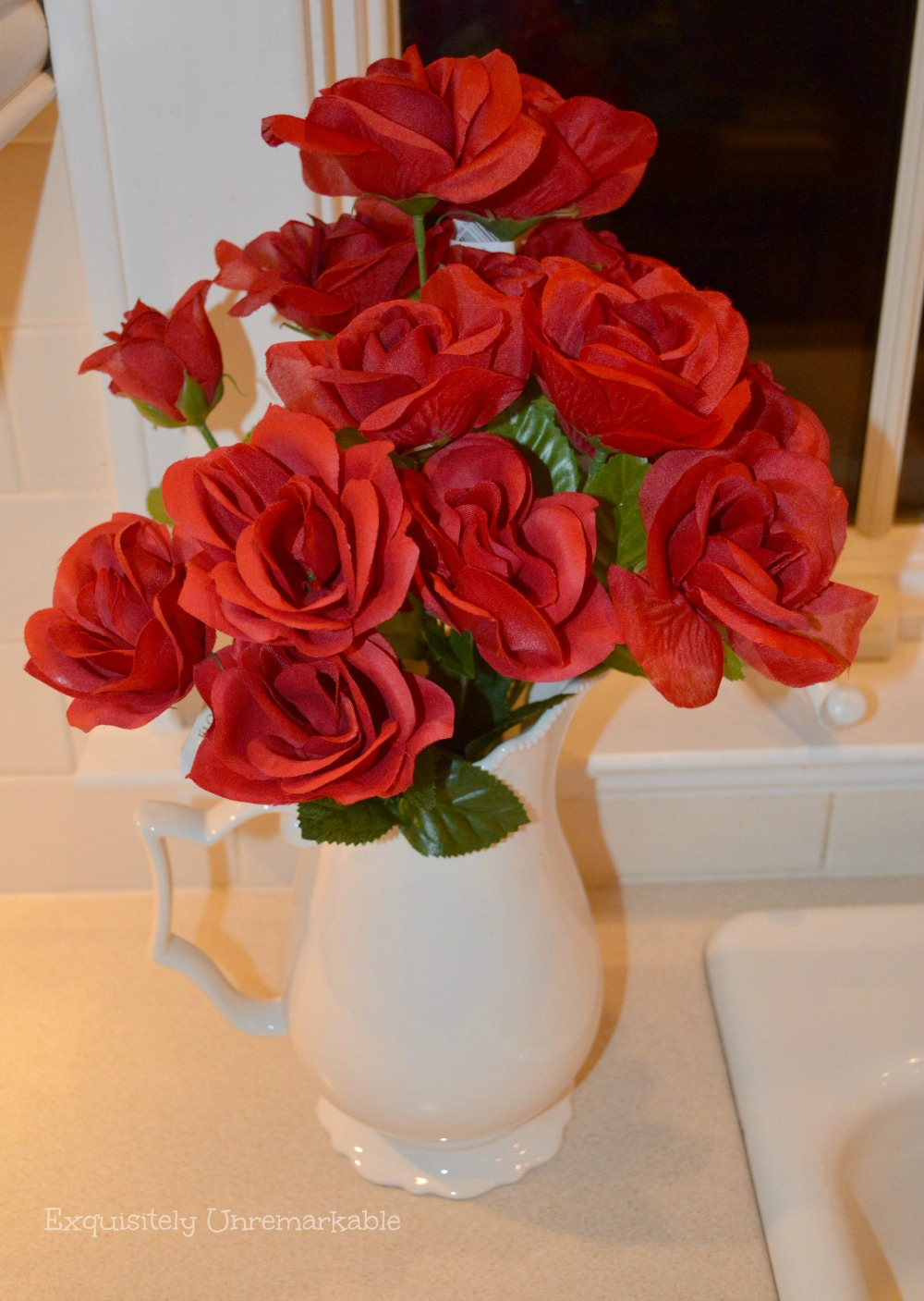 Dollar Store Roses in a white pitcher