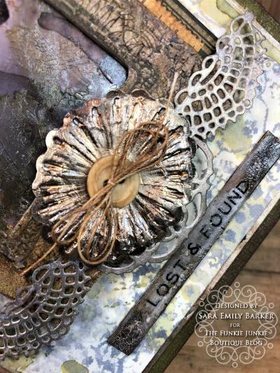 Sara Emily Barker https://sarascloset1.blogspot.com Vintage Mixed Media Card Tim Holtz Sizzix Crochet Burst 3D Impresslits 6