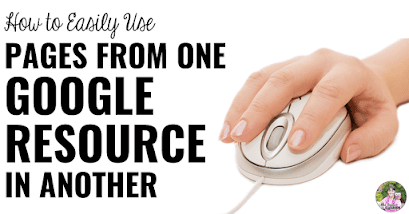 "Hand holding computer mouse with text, ""How to Easily Use Pages From One Google Resource in Another."""