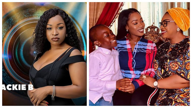 #BBNaija: Lovely moment as Jackie B breaks down in tears after being surprised by her mother and son after her eviction from the BBNaija house (Video)
