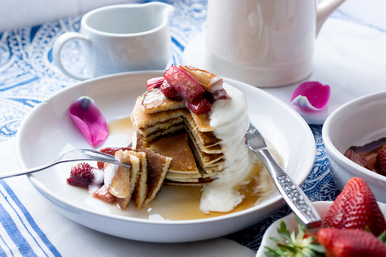 barely-there-beauty-blog-food-photography-lemon-ricotta-pancakes-roasted-rhubarb-recipe