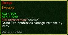 naruto castle defense 6.0 Madara Gunbai detail