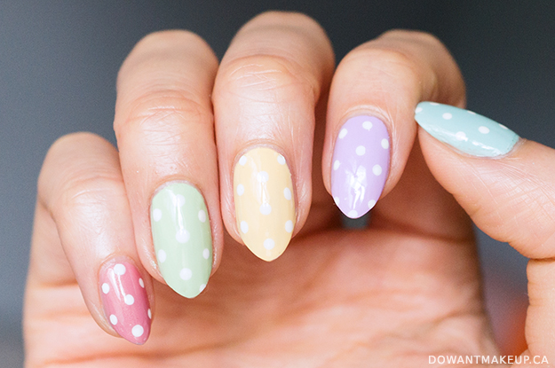 Pastel polka dot easter nails