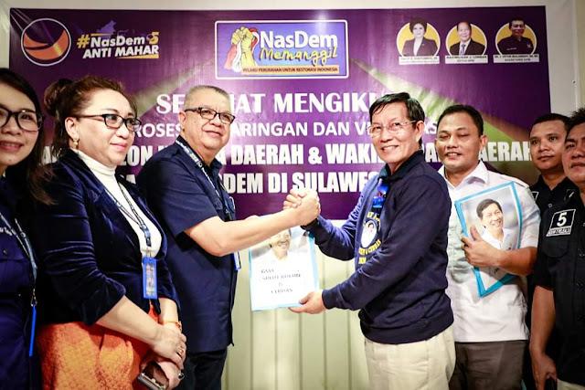 Ribuan Massa antar GSVL Daftar Bacalon Gubernur ke Kantor DPW Nasdem Sulut