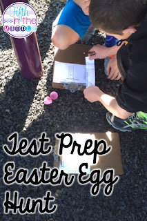 Students find and answer test questions during an Easter egg hunt.