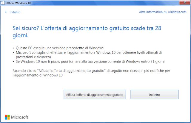 Notifica Ottieni Windows 10 Rifiuta offerta aggiornamento
