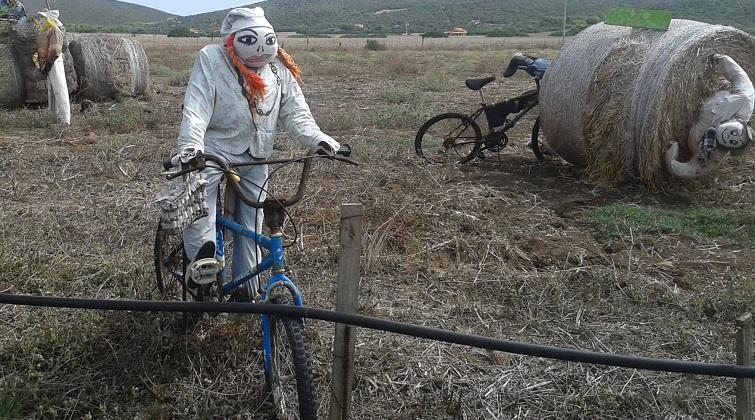 Witzige Deko für den Garten - Fahrradfahrer aus Stroh