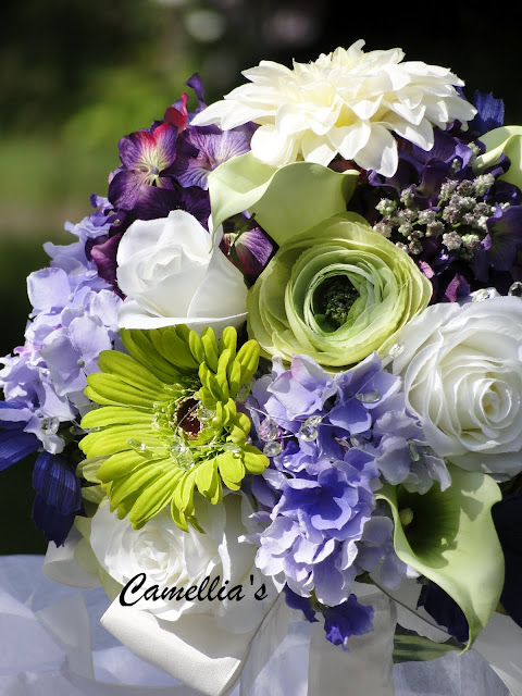faux floral bouquet in purples and greens The Camellia Thunder Bay