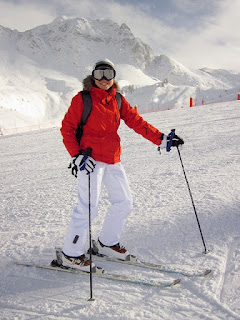 Woman Skiing with backpack