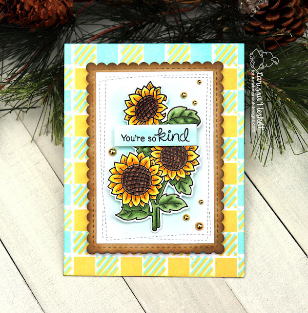 You're so Kind Card by Larissa Heskett for Newton's Nook Designs  using Sunflower Days, Gingham Stencil and Distress Oxide Inks #newtonsnook #sunflowerdays #cardmaking
